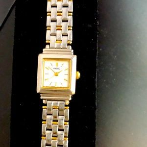 Seiko square face mixed metal watch